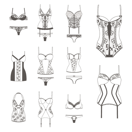 lace bra: Set with lace lingerie. Bra, panties, body, negligee, corset. Womens clothing. Body, vector illustration, flat style Black illustration on white background