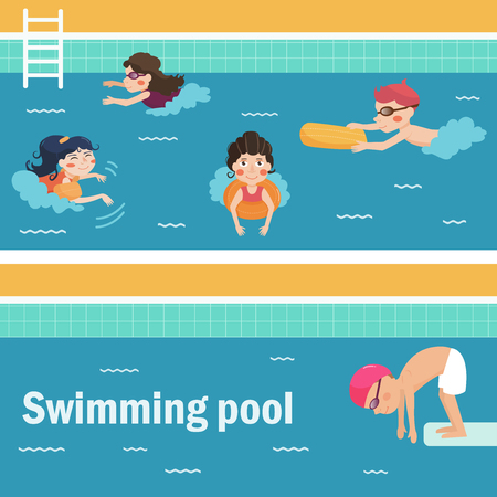 Kids in the swimming pool. Vector illustration. Cartoon characters. Flat. Isolated. Water Park