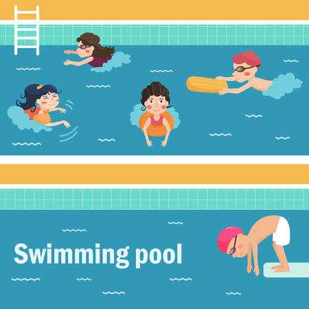 孩子们在游泳池里。矢量插图。卡通人物。平的。孤立。水上公园