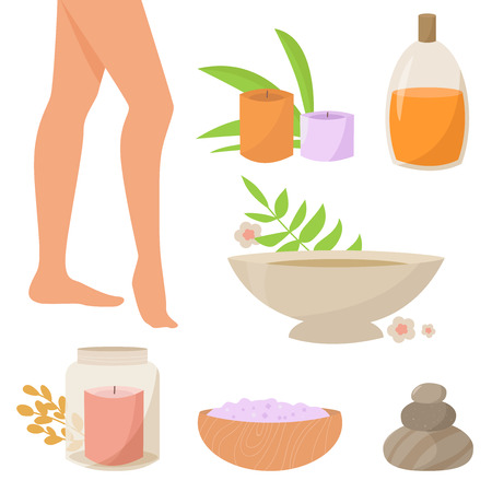rocks water: Spa therapy for legs. Vector isolated illustration. Flat. Spa, candles, bath, salt, mineral, water oil rocks plants Candle in glass jar Illustration