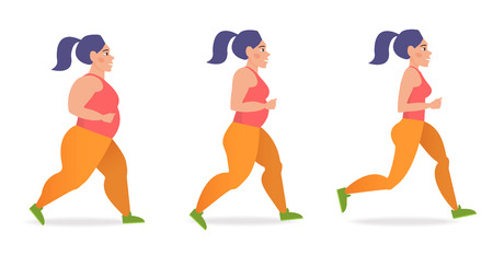 Girl runs. A healthy way of life. Stage from thick to thin. Cartoon character. Vector isolated illustration