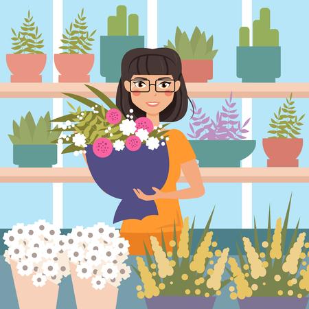 Vrouwelijke bloemist in de winkel. Bedrijf boeket van bloemen. Stripfiguur. Vector geïsoleerde illustratie. Bloemenwinkel Stock Illustratie