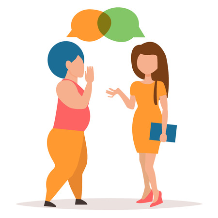 murmur: Two girls gossiping. Conversation couple women. Cartoon character. Vector isolated illustration.