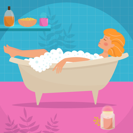 swimming candles: Woman in bath. Vector illustration. Cartoon character. Isolated. Pink blue bright Blonde
