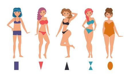 Tipo de figuras femeninas. Reloj de arena, triángulo, triángulo invertido, redondo, rectángulo. Conjunto. personajes de dibujos animados aislado ilustración vectorial Formas Ilustración de vector