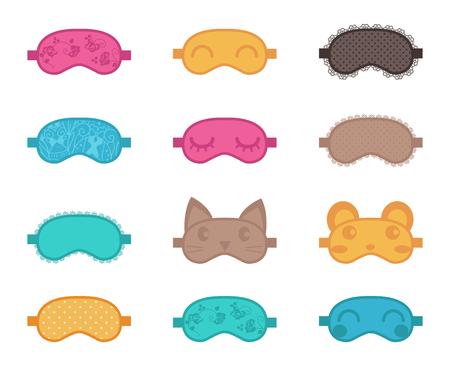 blindfold: Sleep masks. Vector illustration Isolated Set flat