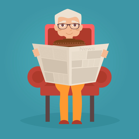 granny and grandad: Grandfather reads the newspaper. Vector illustration. Cartoon character. Isolated Illustration