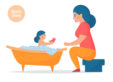 Mother washes the baby in the bath. Vector illustration. Isolated