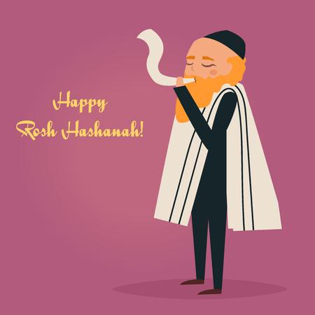 yom kipur: Happy Rosh Hashanah card. Shana Tova. Jewish new year. Vector illustration. Cartoon character. Isolated