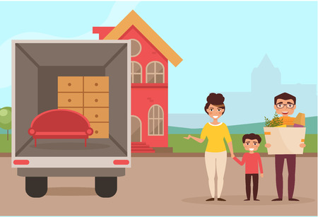 moved: Family moved into a new house. Mother, father, son. Man holding a box. Vector illustration. Cartoon character. Isolated