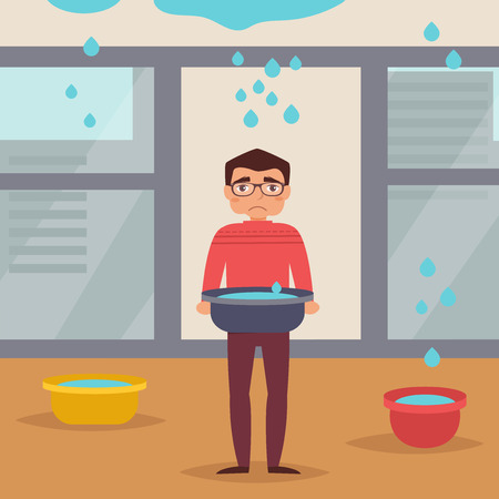 roof: Leaking roof. Man stands with basin. The water flows from the ceiling.  illustration. Cartoon character. Isolated. Drops Illustration