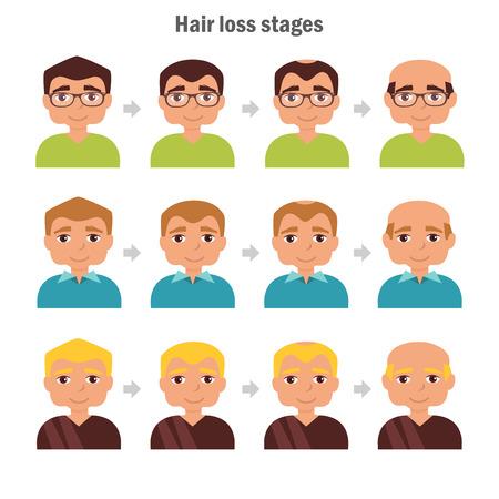 bald spot: Types of hair loss. illustration. Cartoon character. Isolated Man