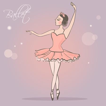 Bailarina. Muchacha de baile en falda exuberante. ilustración. Personaje animado. Aislado. Dibujado a mano