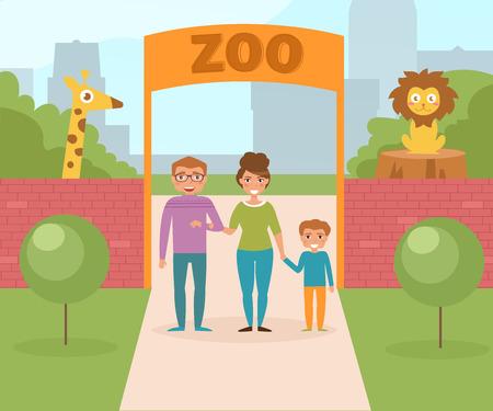 動物園で家族。ゲートと赤レンガの壁。 イラスト。漫画のキャラクター。分離されました。