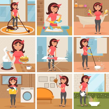 Ama de casa. Limpieza, cocina, lavado, planchado, regar las flores. Tareas señora de la limpieza aislado ilustración personajes de dibujos animados conjunto de trabajo de la mujer