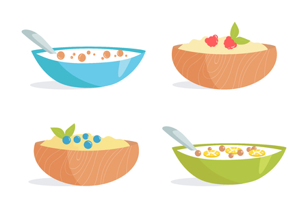 Healthy Breakfast. Porridge, cereal, berries, milk, fruit. Vector illustration. Cartoon Isolated on white background Illustrations for cooking site menus books Vettoriali