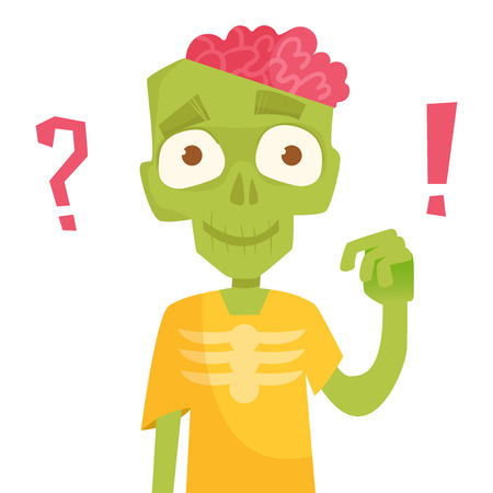 Zombie, brains. Vector illustration Cartoon character Isolated