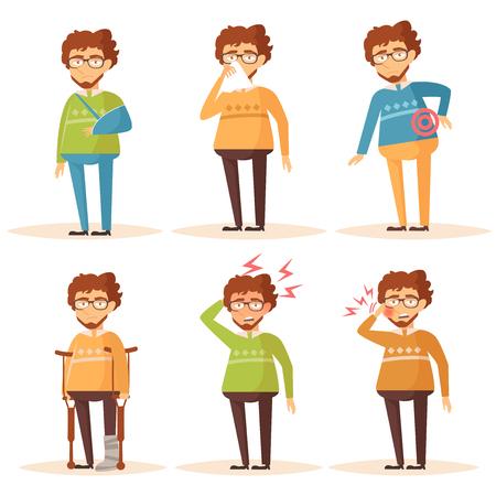man back pain: Man. Set with sick people. Headache, toothache, broken leg, broken arm, Allergy, runny nose, nauseam, back pain Vector isolated illustration The Cartoon character