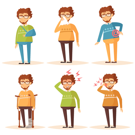 Man. Set with sick people. Headache, toothache, broken leg, broken arm, Allergy, runny nose, nauseam, back pain Vector isolated illustration The Cartoon character