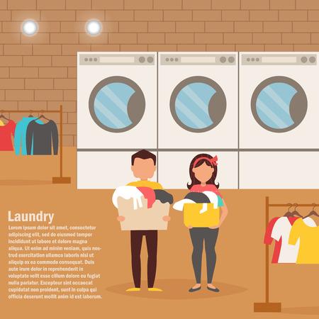 Frau und Mann in der Waschküche. Wäsche waschen. Vektor-Illustration. Zeichentrickfigur. Isoliert. Wohnung.