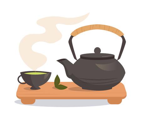 日本のお茶。白い背景に分離の図。料理サイト、メニューの書籍のイラスト。
