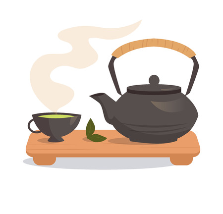 Japanese tea ceremony. Isolated illustration on a white background. Illustrations for cooking site, menus, books.
