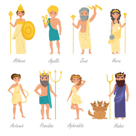 immortal: Greek gods. Artemis, Poseidon, Aphrodite, Hades, Hera, Apollo, Zeus Athena  illustration Cartoon character Isolated on white background Flat Set