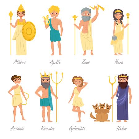 Griekse goden. Artemis, Poseidon, Aphrodite, Hades, Hera, Apollo, Zeus Athena karakter illustratie Cartoon geïsoleerd op een witte achtergrond Flat Set Vector Illustratie