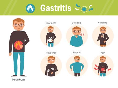 Gastritis. Heartburn, heaviness, belching, nausea, flatulence bloating pain Infographics Cartoon character Isolated Flat Symptoms causes