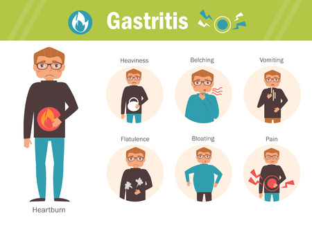 sistema digestivo: Gastritis. Ardor de estómago, sensación de pesadez, eructos, náuseas, flatulencia dolor hinchazón personaje de dibujos animados aislado Infografía Síntomas planas causas