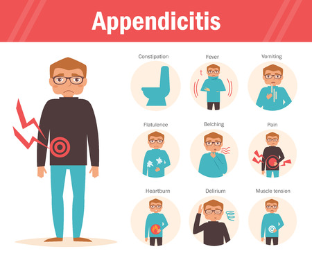 Symptoms of appendicitis: constipation, fever, vomiting, flatulence, burping, pain heartburn dizziness muscle tension Cartoon character Isolated Flat