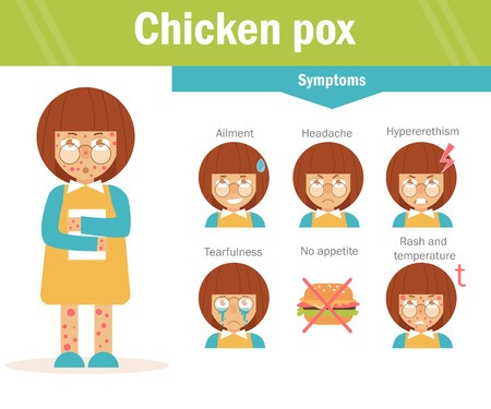 itching: Chicken pox. Cartoon character Isolated Flat Child