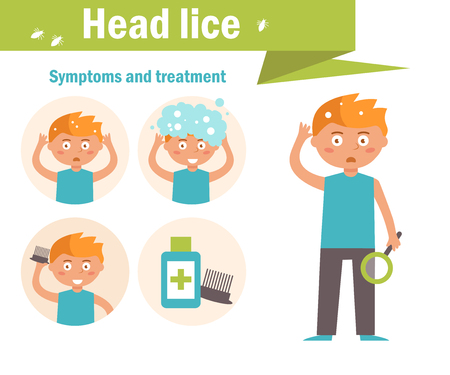 Head lice. Symptoms and treatment. Vector. Cartoon character Isolated Flat Vettoriali