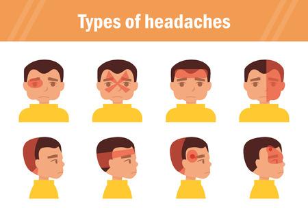 Types of headaches. Cartoon. Isolated. Flat Illustration for websites brochures magazines Illustration