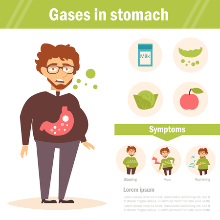 bowel: Gases in stomach. Vector. Illustration