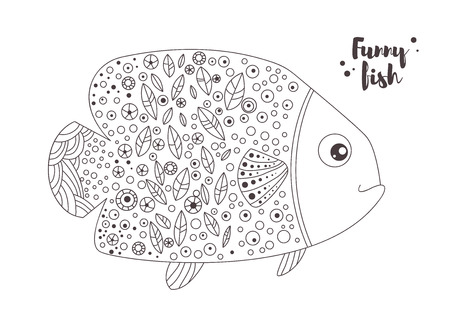 funny fish: Funny fish. Coloring book Illustration