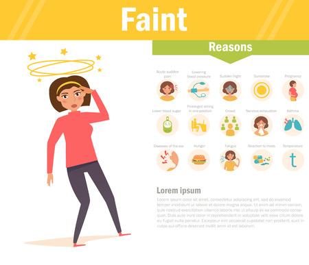 fainted: Faint. Reasons. Vector. Cartoon.