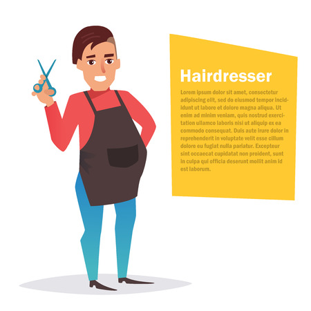 coiffeur: Hairdresser. Vector. Cartoon. Isolated.
