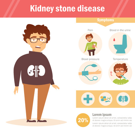Kidney stone disease. Infographics. Vector. Cartoon. Isolated.