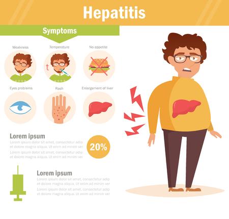 肝炎。肝臓の問題を持つ男