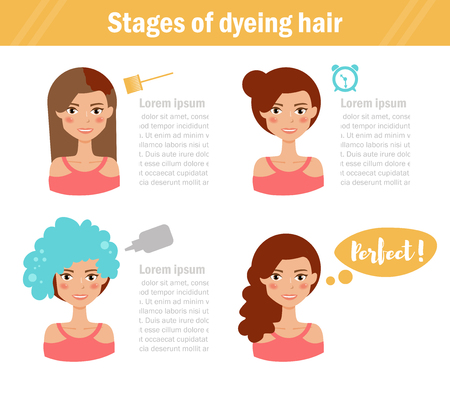 stage makeup: Stages of dyeing hair.