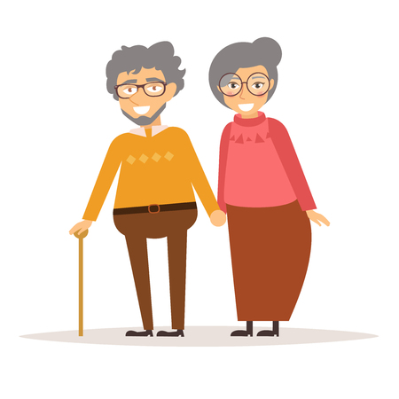 granny and grandad: Elderly couple holding hands.