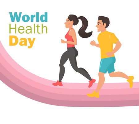 World health day. Man and woman run
