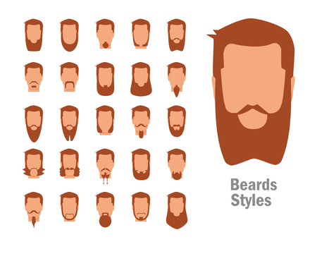 Set with various types of beards. Illustration