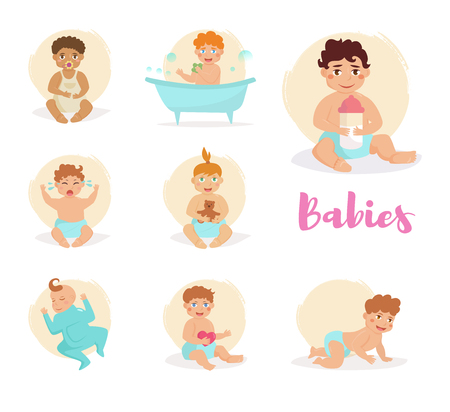little girl bath: Set with babies.