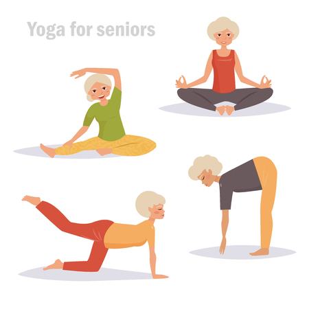 Yoga for seniors. Isolated art on white background. Vector. Cartoon. Flat. Woman sport exercises