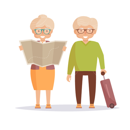 Seniors travelers. Woman holding map in her hands, man with suitcase. Isolated art on blue background. Vector. Cartoon. Flat.