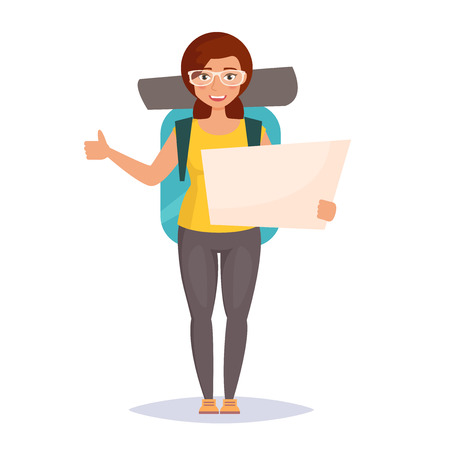 hiking: Hitchhiking. Woman traveler with backpack. Isolated art on white background. Vector. Cartoon. Flat Illustration