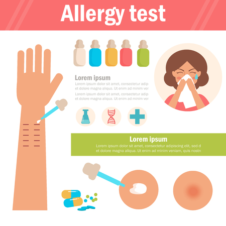 Allergy test. Arm, pipette, woman blows her nose. Isolated art on white background. Vector. Cartoon. Flat. For websites brochures magazines Medicine Çizim