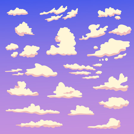 Set with clouds in the evening. Isolated art on white background. Vector. Cartoon. Flat. Illustration